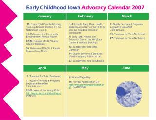 Early Childhood Iowa Advocacy Calendar 2007