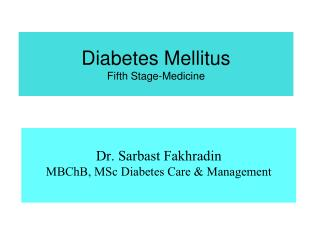 Diabetes Mellitus Fifth Stage-Medicine