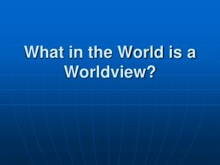 What in the World is a Worldview?