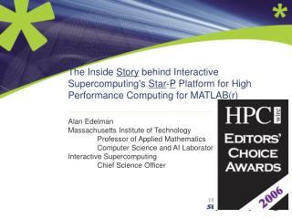 Alan Edelman Massachusetts Institute of Technology Professor of Applied Mathematics