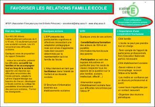 FAVORISER LES RELATIONS FAMILLE/ECOLE