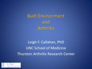 Built Environment  and  Arthritis