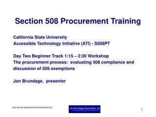 Section 508 Procurement Training