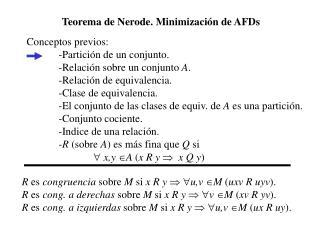 Teorema de Nerode. Minimización de AFDs