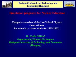 Budapest University of Technology and Economics Hungary