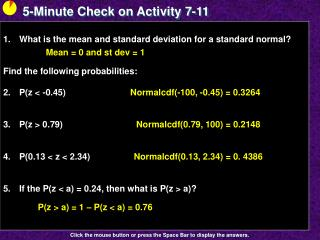 5-Minute Check on Activity  7-11