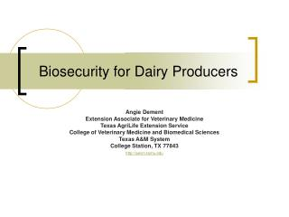 Biosecurity for Dairy Producers