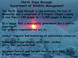 North Slope Borough  Department of Wildlife Management