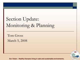 Section Update: Monitoring & Planning