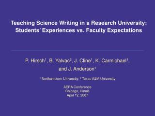 Teaching Science Writing in a Research University: Students' Experiences vs. Faculty Expectations