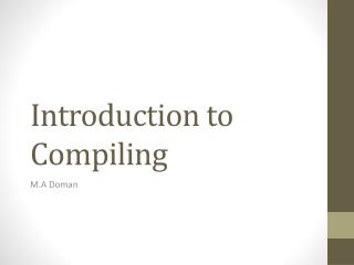Introduction to Compiling
