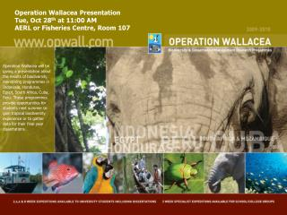 Operation Wallacea Presentation  Tue, Oct 28 th  at 11:00 AM  AERL or Fisheries Centre, Room 107