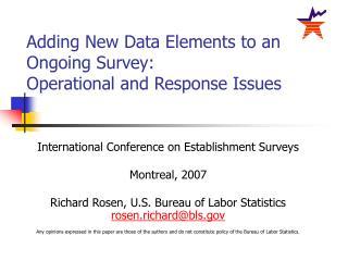 International Conference on Establishment Surveys Montreal, 2007