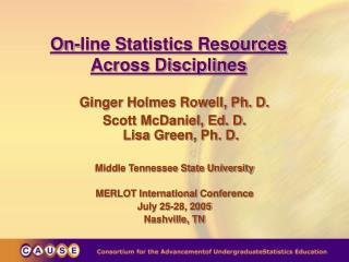 On-line Statistics Resources  Across Disciplines