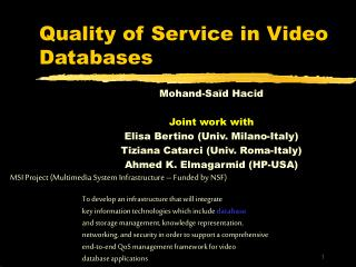 Quality of Service in Video Databases