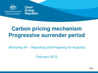 Carbon pricing mechanism Progressive  surrender period