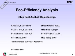 Eco-Efficiency Analysis - Chip Seal Asphalt Resurfacing  -