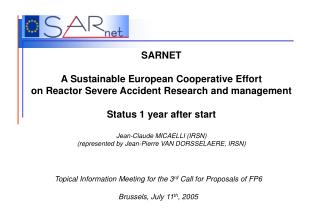 Topical Information Meeting for the 3 rd  Call for Proposals of FP6 Brussels, July 11 th , 2005
