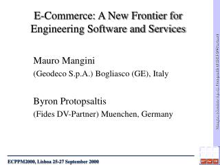 E-Commerce: A New Frontier for Engineering Software and Services