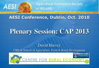 AESI Conference, Dublin, Oct. 2010 Plenary Session: CAP 2013 David Harvey