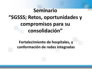 """Seminario """"SGSSS; Retos, oportunidades y compromisos para su consolidación"""""""