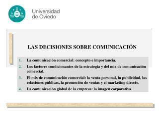 LAS DECISIONES SOBRE COMUNICACIÓN