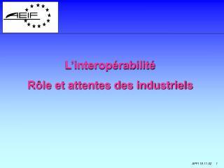 L'interopérabilité Rôle et attentes des industriels