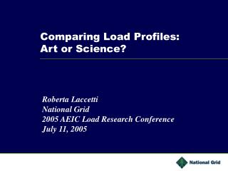 Comparing Load Profiles: Art or Science?