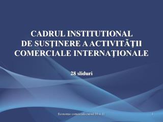 CADRUL INSTITUTIONAL  DE SUSŢINERE A ACTIVITĂŢII COMERCIALE INTERNAŢIONALE