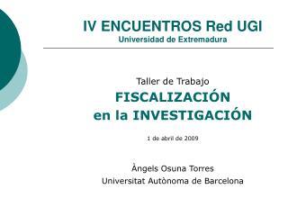 IV ENCUENTROS Red UGI Universidad de Extremadura