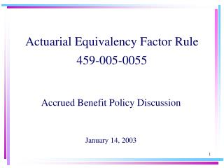 Actuarial Equivalency Factor Rule 459-005-0055
