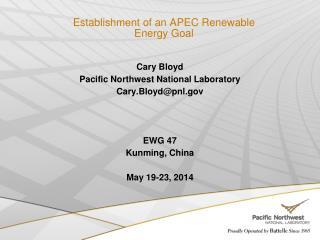 Establishment of an APEC Renewable Energy Goal