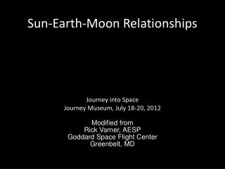Sun-Earth-Moon Relationships