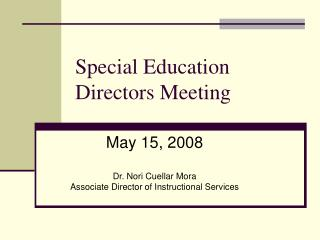 Special Education Directors Meeting