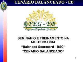 """SEMINÁRIO E TREINAMENTO NA METODOLOGIA  """"Balanced Scorecard - BSC"""" """"CENÁRIO BALANCEADO"""""""