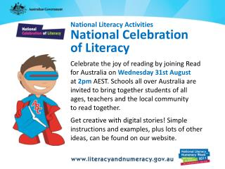 National Literacy Activities National Celebration  of Literacy