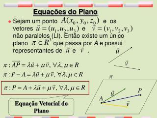 Equações do Plano