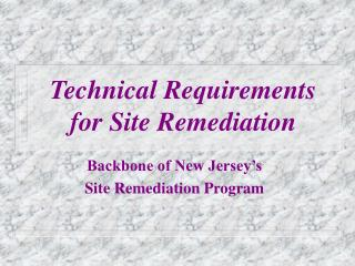 Technical Requirements  for Site Remediation