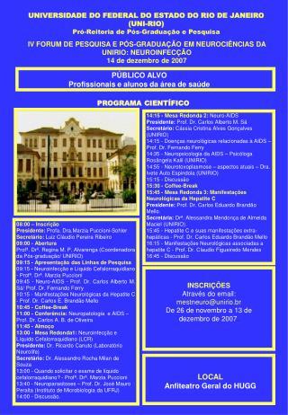 UNIVERSIDADE DO FEDERAL DO ESTADO DO RIO DE JANEIRO UNI-RIO  Pr -Reitoria de P s-Gradua  o e Pesquisa