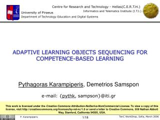 ADAPTIVE LEARNING OBJECTS SEQUENCING FOR  COMPETENCE-BASED LEARNING