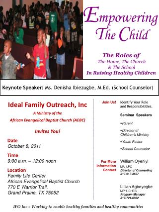 Ideal Family Outreach, Inc A Ministry of the African Evangelical Baptist Church (AEBC)