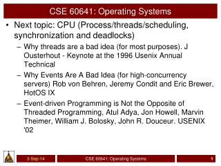 CSE 60641: Operating Systems