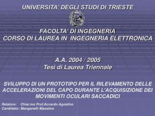 Relatore:    Chiar.mo Prof.Accardo Agostino              Candidato: Manganelli Massimo