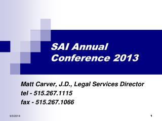 SAI Annual Conference 2013