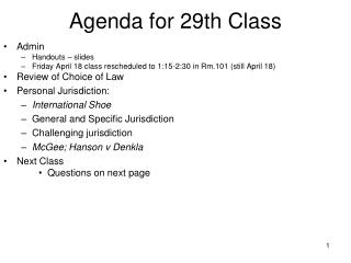Agenda for 29th Class