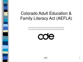 Colorado Adult Education &  Family Literacy Act (AEFLA)  :::::::::::::::::::::::::::::::