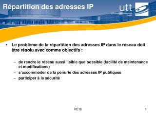 Répartition des adresses IP