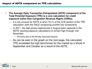 Impact of ADTE component on TPE calculation