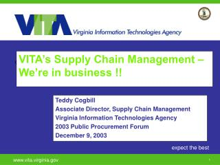 VITA s Supply Chain Management   We re in business