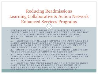 Reducing Readmissions Learning Collaborative & Action Network Enhanced Services Programs